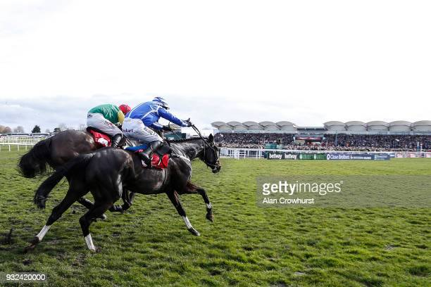 Paul Townend riding Penhill clear the last to win The Sun Bets Stayers' Hurdle Race at Cheltenham racecourse on St Patrick's Thursday on March 15...