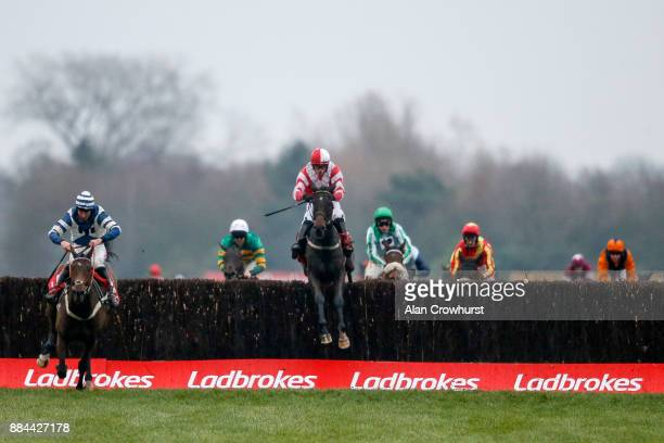 Paul Townend riding Total Recall clear the last to win The Ladbrokes Trophy Steeple Chase from Whisper at Newbury racecourse on December 2 2017 in...