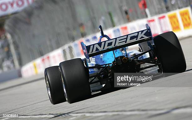 Paul Tracy drives his Forsythe Championship Racing FordCosworth XFE Lola during qualifying for the Toyota Grand Prix of Long Beach on April 9 2005 in...