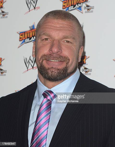 Paul 'Triple H' Levesque arrives to the WWE SummerSlam Press Conference at Beverly Hills Hotel on August 13 2013 in Beverly Hills California