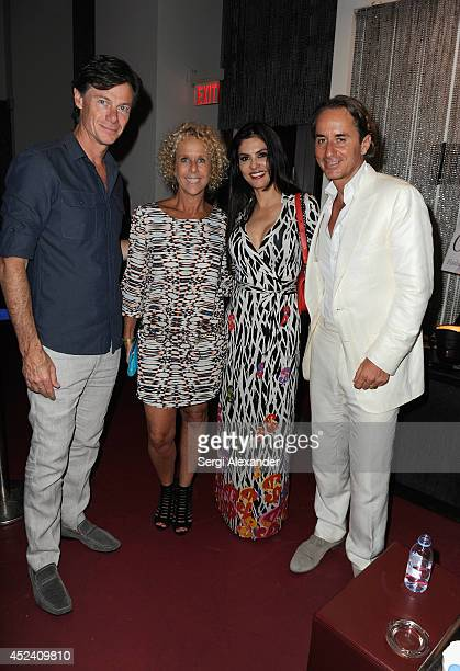 Paul Turcotte designer Paola Robba Adriana de Moura and Frederic Marq attend The Daily Swim 10 Year Anniversary party presented by Evian at Shore...