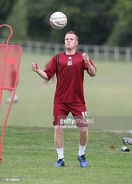 Paul Turnbull of Northampton Town in action during a training session at Moulton College on July 2 2011 in Northampton England