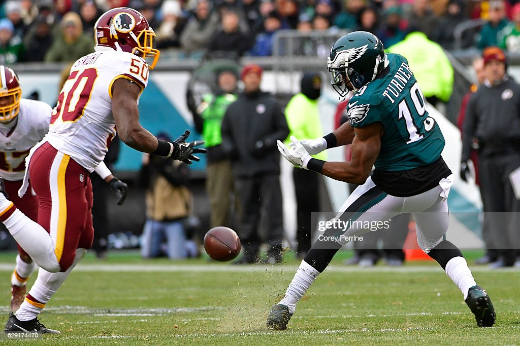 Paul Turner #19 of the Philadelphia Eagles can't hold on to a pass as Martrell Spaight #50 of the Washington Redskins pressures in the third quarter at Lincoln Financial Field on December 11, 2016 in Philadelphia, Pennsylvania. The Redskins won 27-22.