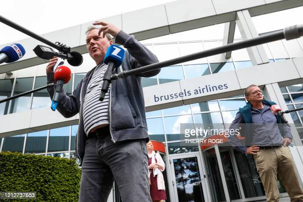 Paul Van Buekenhout and CNE Didier Lebbe address media representatives after an Extraordinary Works Council of Brussels Airlines at Zaventem on the...