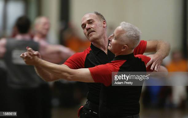 Paul van Houten and partner Gary Dougan in action during the Mens graded Modern Dancing competition at the Sydney 2002 Gay Games held in the Sydney...
