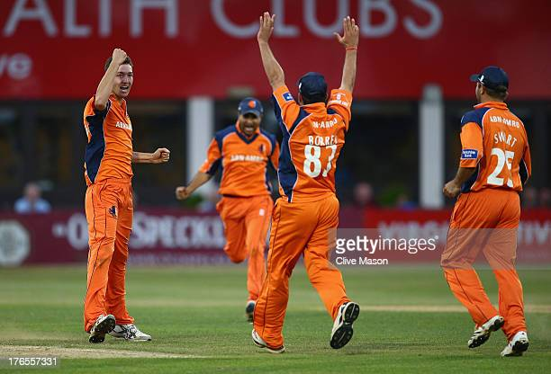 Paul van Meekeren of the Netherlands celebrates dismissing Steven Crook of Northants during the Yorkshire Bank 40 match between Northamptonshire and...