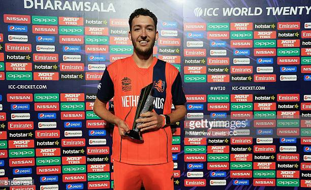 Paul van Meekeren of the Netherlands pictured with the Man of the Match award after the ICC World Twenty20 India 2016 match between Netherlands and...