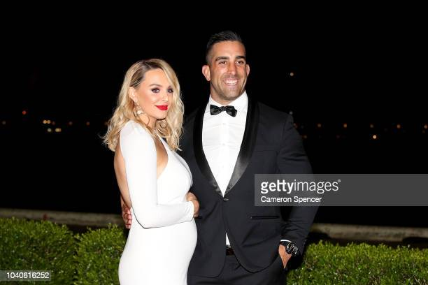 Paul Vaughan and his wife Elle Vaughan arrive at the 2018 Dally M Awards at Overseas Passenger Terminal on September 26 2018 in Sydney Australia