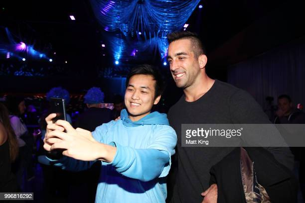 Paul Vaughan interacts with fans during a New South Wales Blues public reception after winning the 2018 State of Origin series at The Star on July 12...