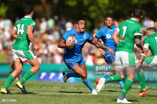 Paul Vaughan of Italy runs the ball during the 2017 Rugby League World Cup match between Ireland and Italy at Barlow Park on October 29 2017 in...