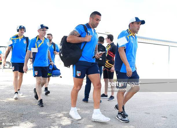Paul Vaughan of Italy walks from the bus to the dressing room before the start of the 2017 Rugby League World Cup match between Italy and the USA at...