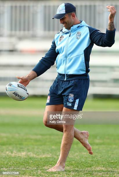 Paul Vaughan of the Blues kicks the ball during a New South Wales Blues State of Origin Recovery Session at Coogee Oval on July 2 2018 in Sydney...