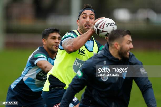 Ryan James of the Blues kicks during a New South Wales Blues State of Origin training session at Moore Park on June 19 2018 in Sydney Australia