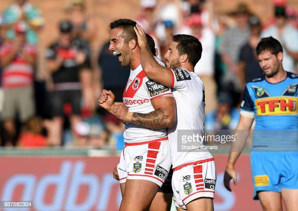 Paul Vaughan of the Dragons celebrates scoring a try during the round three NRL match between the Gold Coast Titans and the St George Illawarra...