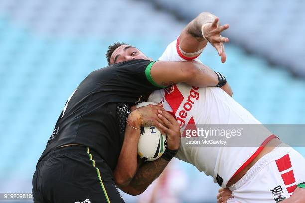 Paul Vaughan of the Dragons is tackled during the NRL trial match between the St George Illawarra Dragons and Hull at ANZ Stadium on February 17 2018...