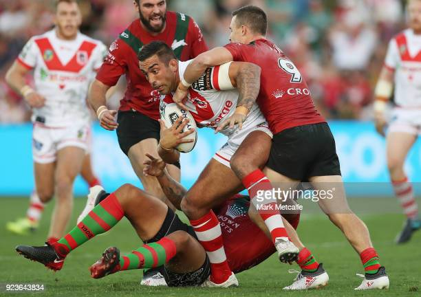 Paul Vaughan of the Dragons is tackled during the NRL trial match between the South Sydney Rabbitohs and the St George Illawarra Dragons at Glen...