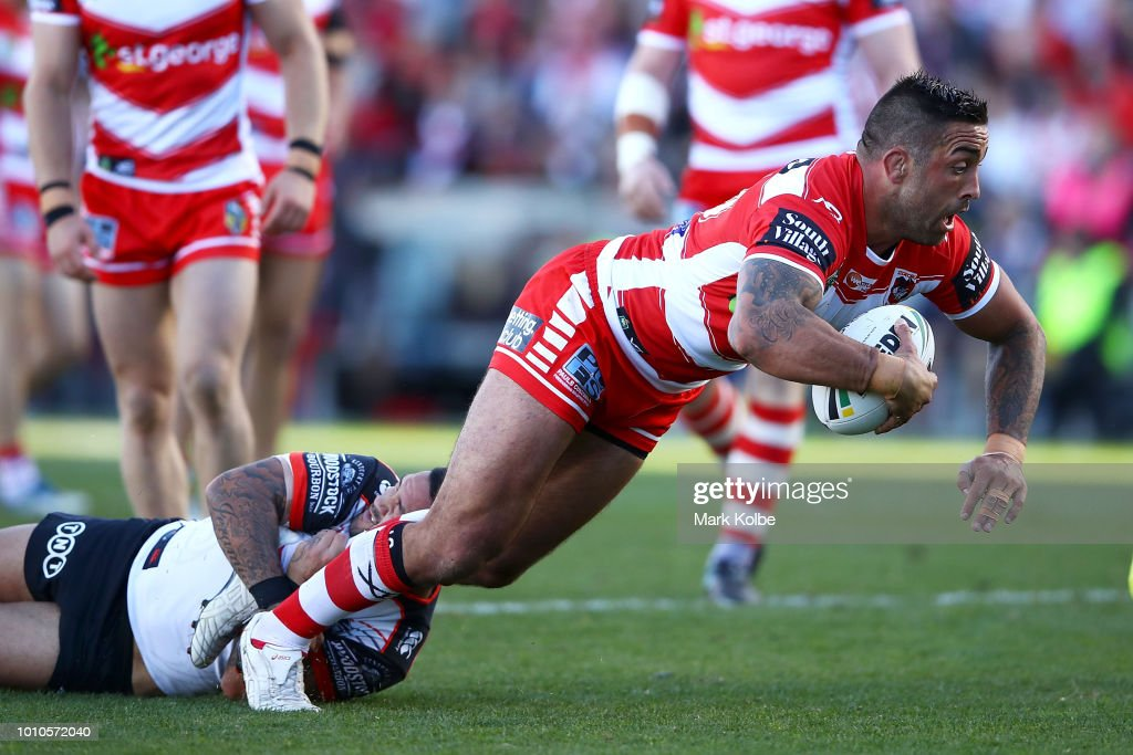 Paul Vaughan of the Dragons is tackled during the round 21 NRL match between the St George Illawarra Dragons and the New Zealand Warriors at WIN Stadium on August 4, 2018 in Wollongong, Australia.