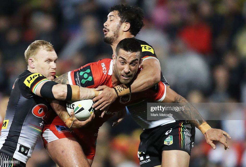 Paul Vaughan of the Dragons is tackled during the round 25 NRL match between the Penrith Panthers and the St George Illawarra Dragons at Pepper Stadium on August 27, 2017 in Sydney, Australia.