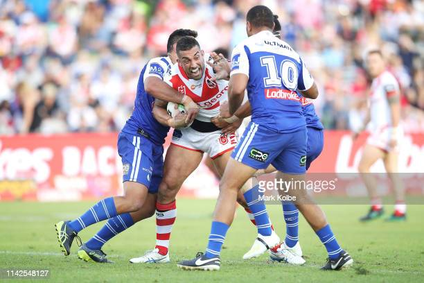 Paul Vaughan of the Dragons is tackled during the round five NRL match between the St George Illawarra Dragons and the Canterbury Bulldogs at WIN...