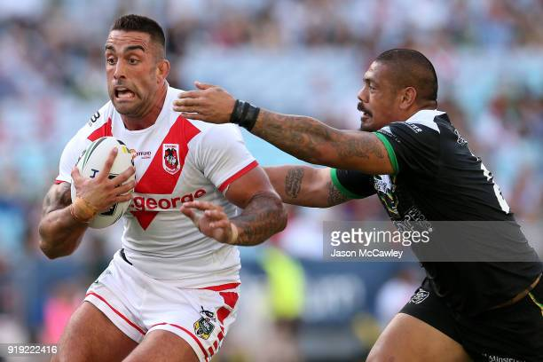 Paul Vaughan of the Dragons runs the ball during the NRL trial match between the St George Illawarra Dragons and Hull at ANZ Stadium on February 17...