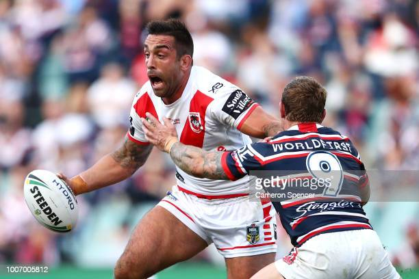 Paul Vaughan of the Dragons runs the ball during the round 20 NRL match between the Sydney Roosters and the St George Illawarra Dragons at Allianz...
