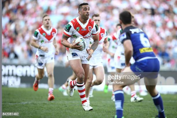 Paul Vaughan of the Dragons runs the ball during the round 26 NRL match between the St George Illawarra Dragons and the Canterbury Bulldogs at ANZ...