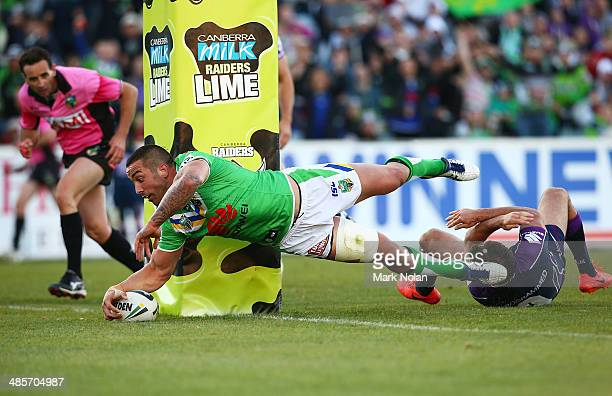 Paul Vaughan of the Raiders scores the match winning try during the round seven NRL match between the Canberra Raiders and the Melbourne Storm at GIO...