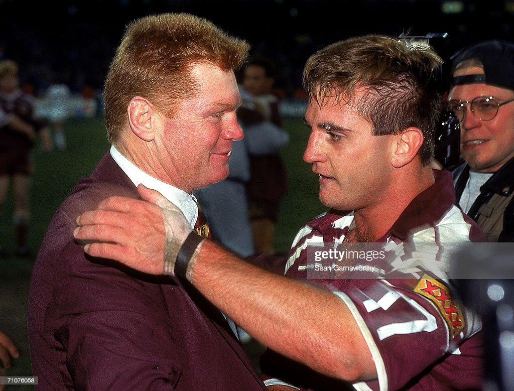 Paul Vautin, coach of the Maroons celebrates with Craig Teevan after game two State of Origin match between the New South Wales Blues and the Queensland Maroons held at the Melbourne Cricket Ground May 31, 1995 in Melbourne, Australia.