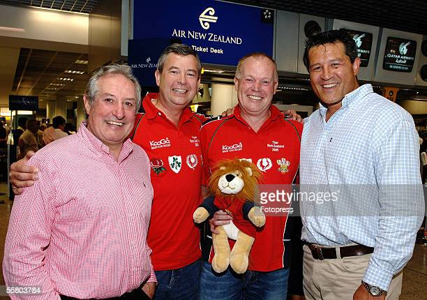 Paul Venning and Neil Hudson from Sevenoaks in Kent with Lions and Welsh legend Gareth Edwards rnand All Black great Zinzan Brook at Heathrow airport...
