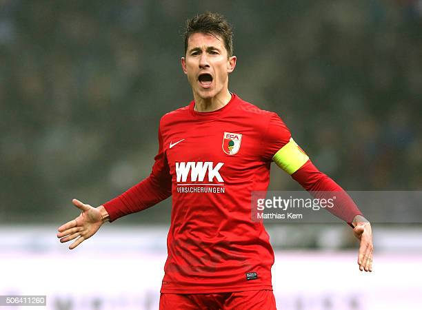 Paul Verhaegh of Augsburg gestures during the Bundesliga match between Hertha BSC and FC Augsburg at Olympiastadion on January 23 2016 in Berlin...