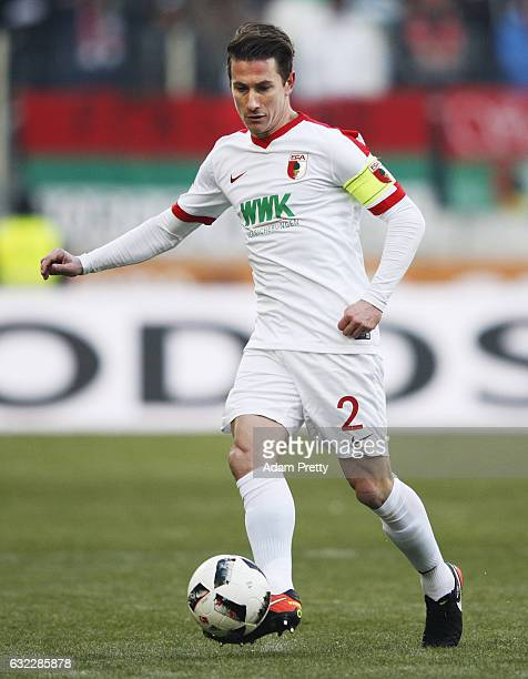 Paul Verhaegh of Augsburg in action during the Bundesliga match between FC Augsburg and TSG 1899 Hoffenheim at WWK Arena on January 21 2017 in...