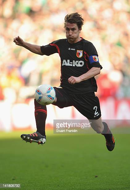 Paul Verhaegh of Augsburg in action during the Bundesliga match between SV Werder Bremen and FC Augsburg at Weser Stadium on March 24, 2012 in...