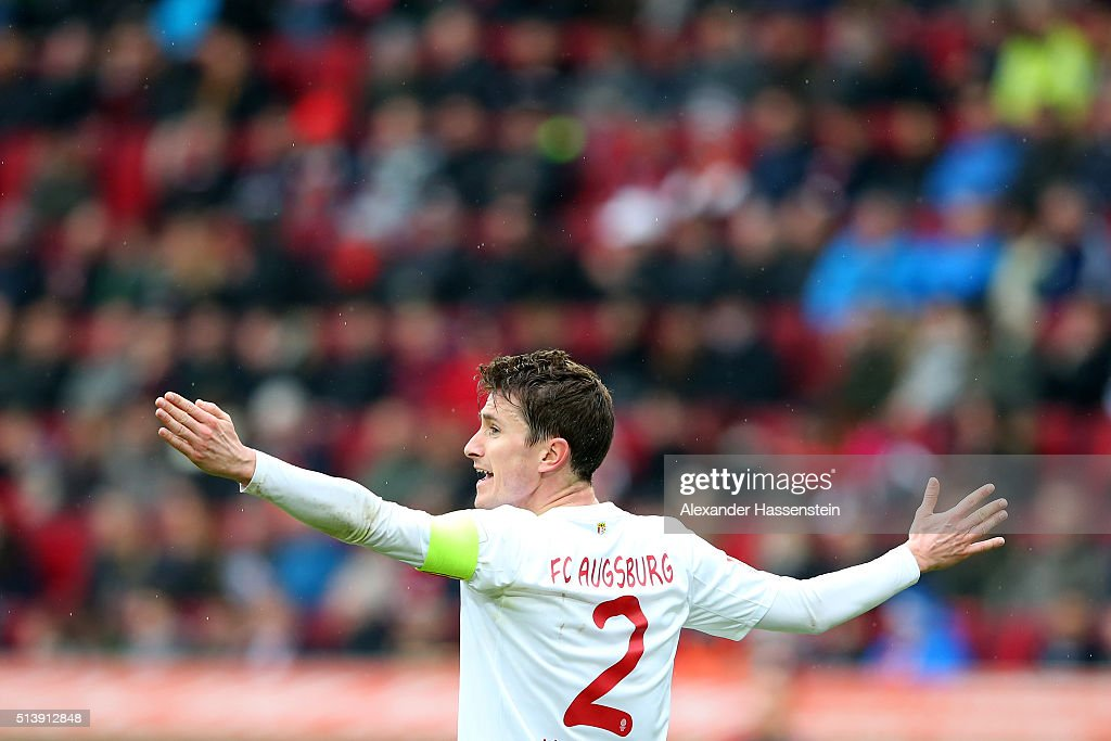 Paul Verhaegh of Augsburg reacts during the Bundesliga match between FC Augsburg and Bayer Leverkusen at WWK Arena on March 5, 2016 in Augsburg, Germany.