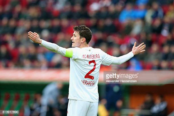 Paul Verhaegh of Augsburg reacts during the Bundesliga match between FC Augsburg and Bayer Leverkusen at WWK Arena on March 5 2016 in Augsburg Germany