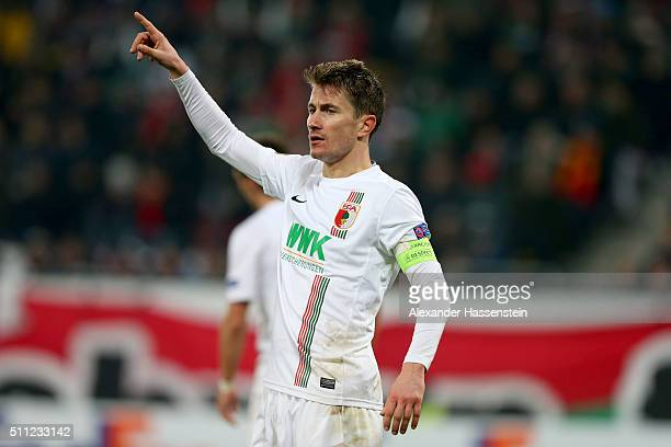 Paul Verhaegh of Augsburg reacts during the UEFA Europa League round of 32 first leg match between FC Augsburg and Liverpool at WWKArena on February...
