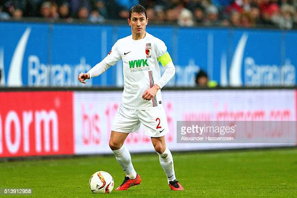Paul Verhaegh of Augsburg runs with the ball during the Bundesliga match between FC Augsburg and Bayer Leverkusen at WWK Arena on March 5 2016 in...