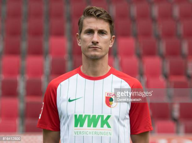Paul Verhaegh of FC Augsburg poses during the team presentation at WWK Arena on July 17 2017 in Augsburg Germany