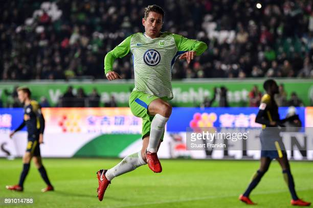 Paul Verhaegh of VfL Wolfsburg celebrates after scoring from the penalty spot to make it 01 during the Bundesliga match between VfL Wolfsburg and RB...