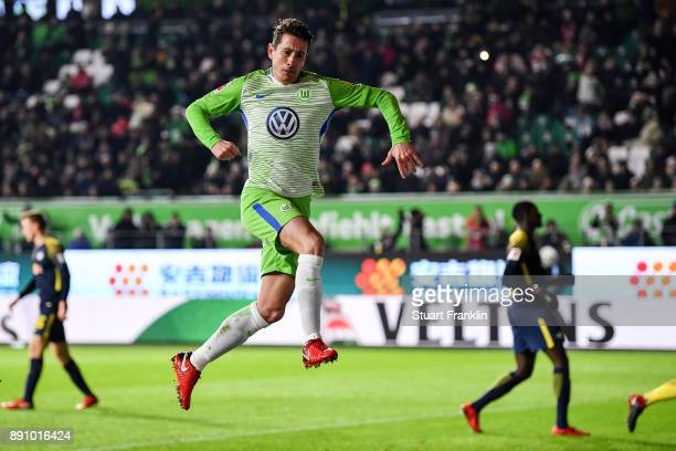 Paul Verhaegh of VfL Wolfsburg celebrates after scoring from the penalty spot to make it 10 during the Bundesliga match between VfL Wolfsburg and RB...