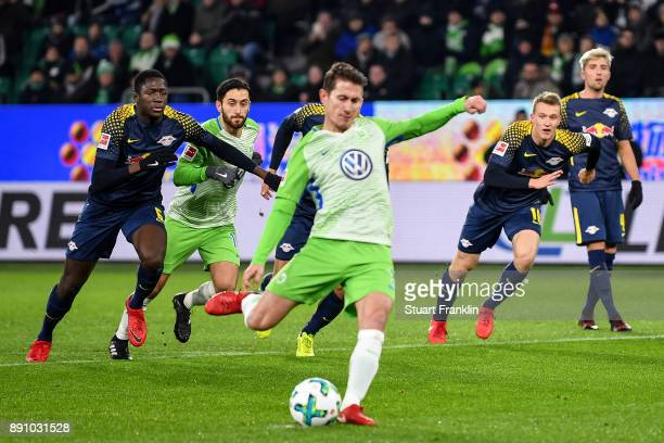 Paul Verhaegh of VfL Wolfsburg scores from the penalty spot during the Bundesliga match between VfL Wolfsburg and RB Leipzig at Volkswagen Arena on...