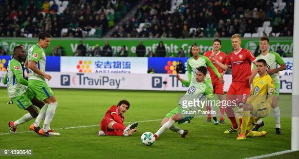Paul Verhaegh of Wolfsburg saves a shot during the Bundesliga match between VfL Wolfsburg and VfB Stuttgart at Volkswagen Arena on February 3 2018 in...