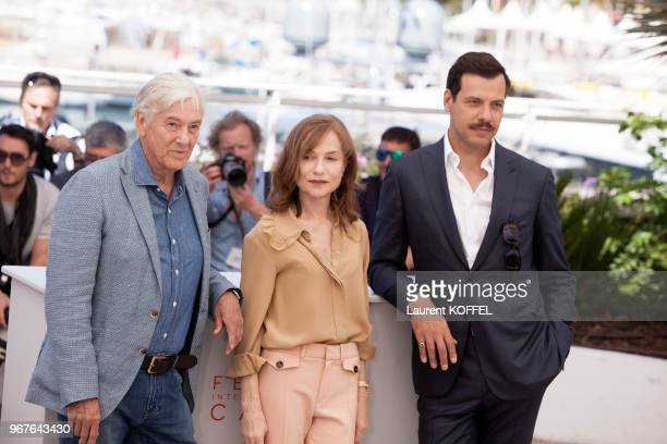 Paul Verhoeven Isabelle Huppert and Laurent Lafitte attend the 'Elle' Photocall during the 69th annual Cannes Film Festival at the Palais des...