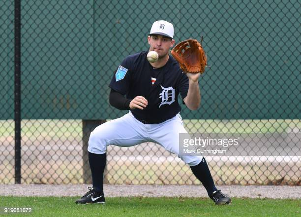 Paul Voelker of the Detroit Tigers catches a baseball during Spring Training workouts at the TigerTown Facility on February 17 2018 in Lakeland...
