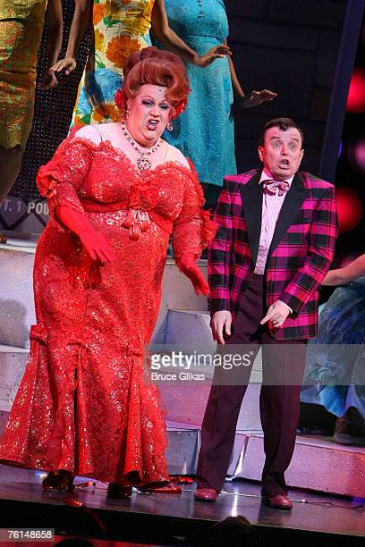 """Paul Vogt as """"Edna Turnblad"""" and Jerry Mathers during Lance Bass' opening night performance in """"Hairspray"""" on Broadway August 16, 2007 at The Neil..."""