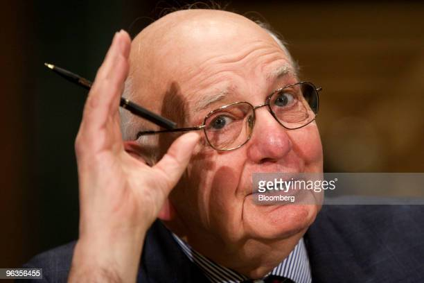 Paul Volcker former chairman of the US Federal Reserve testifies at a Senate Banking Committee hearing in Washington DC US on Tuesday Jan 2 2010...