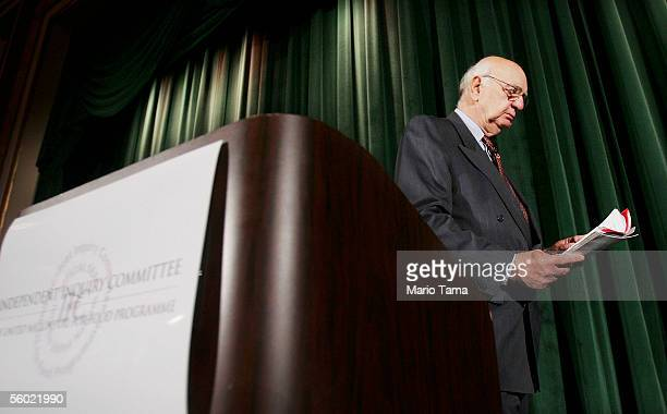 Paul Volcker head of the United Nations OilforFood Program inquiry committee prepares to leave a news conference October 27 2005 in New York City...