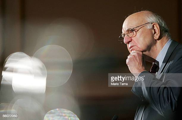 Paul Volcker head of the United Nations OilforFood Program inquiry committee waits to speak at a news conference October 27 2005 in New York City...