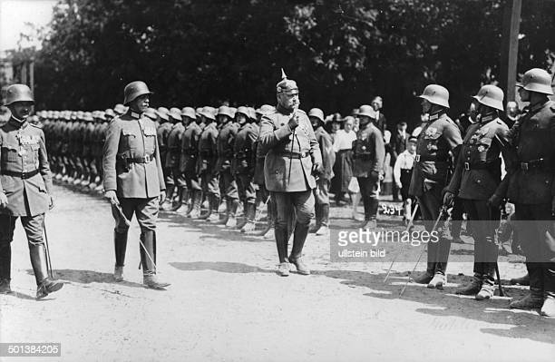 Paul von Hindenburg German field marshal and statesman 2nd President of Gemany 192534 Hindenburg visiting East Prussia in 1922 inspecting a guard of...