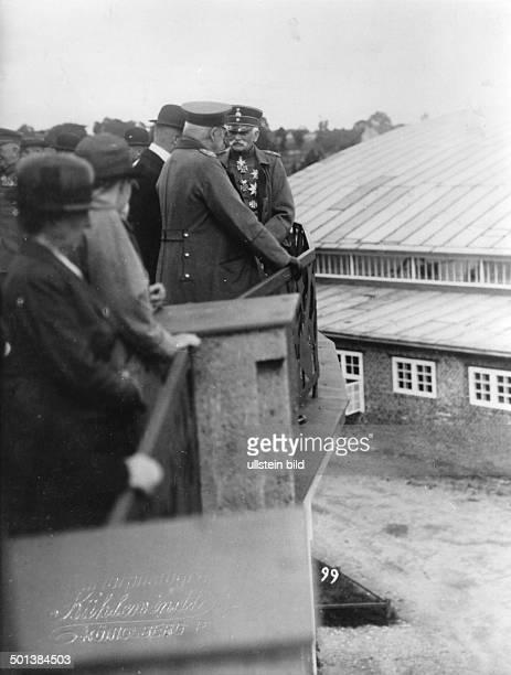 Paul von Hindenburg German field marshal and statesman 2nd President of Gemany 192534 Hindenburg visiting East Prussia with Field Marshal August von...