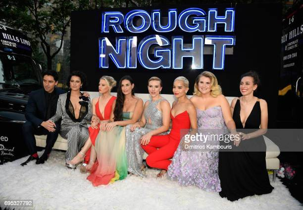 Paul W Downs Ilana Glazer Kate McKinnon Demi Moore Scarlett Johansson Zoe Kravitz Jillian Bell and Lucia Aniello attend the 'Rough Night' premeire at...
